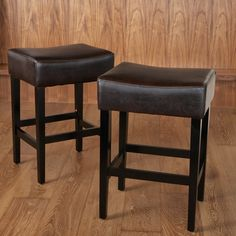 "Christopher Knight Home Lopez Backless Brown Leather Counterstools (Set of 2) - 26"" high"