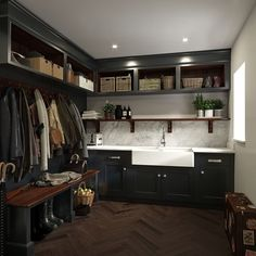 Organisational heaven is just a few steps away… bespoke black finish bootroom with large sink and practical storage solution by mark wilson furniture Mudroom Laundry Room, Laundry Room Design, Boot Room Storage, Utility Room Storage, Utility Room Sinks, Coat Storage, Utility Sink, Shoe Storage, Utility Room Designs