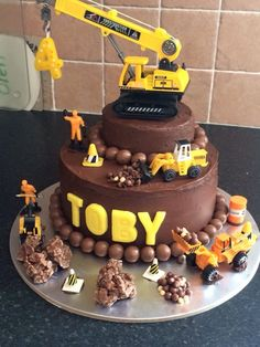 Tractors 312015080430374779 - Chocolate Maise Fudge Cake I made for Toby my nep. - Tractors 312015080430374779 – Chocolate Maise Fudge Cake I made for Toby my nephew 4 today Sourc - Tractor Birthday Cakes, Toddler Birthday Cakes, 3rd Birthday Cakes, Digger Birthday Cake, Birthday Ideas, Torta Paw Patrol, Digger Cake, Truck Cakes, Construction Birthday Parties