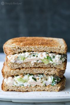 Best Ever Tuna Salad Sandwich! ~ Uses tuna, canned or freshly cooked, cottage cheese, mayo, red onion, celery, capers, lemon, parsley, dill, and Dijon. ~ SimplyRecipes.com #TunaSalad #CannedTuna