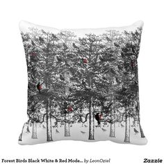 Decor Pillows, Decorative Pillows, Throw Pillows, Bird Tree, Black White Red, Repeating Patterns, Trees, Tapestry, Birds