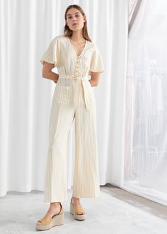 Striped Linen Blend Jumpsuit - Yellow Striped - Jumpsuits & Playsuits - & Other Stories Mini Dress With Sleeves, Fashion Story, Women's Fashion, Fashion Trends, Striped Linen, Simple Dresses, Beautiful Dresses, Summer Dresses, Spring Summer Fashion