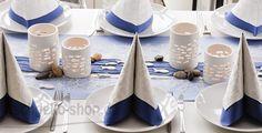 #Tischdeko zur #Konfirmation in blau und mit Fischchen.