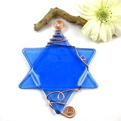 Fused Glass Star of David Suncatcher  Light Blue by dpholkdesigns, $15.00