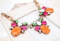 Orange  J'crew Style Color Drop Necklace by ASmallGift on Etsy, $28.00