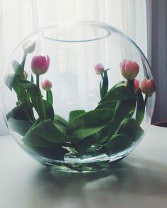 Ett annorlunda arrangemang, lägg dina tulpaner i en rund vas med vatten i botten. En trendig, enkelt och snygg bordsdekoration. Äntligen Hemma