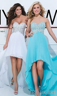 Strapless High Low Dress with Pleated Skirt at PromGirl.com