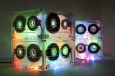 8 cassette tapes     Hot glue gun     Frosted glass finish     Small holiday lights - I used 35 multi-colored LED lights that were battery operated that I found on Amazon.