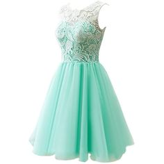 Dresstells Short Tulle Prom Dress Bridesmaid Homecoming Gown with Lace (665 ARS) ❤ liked on Polyvore featuring dresses, green cocktail dress, lace prom dresses, short homecoming dresses, green dress and bridesmaid dresses