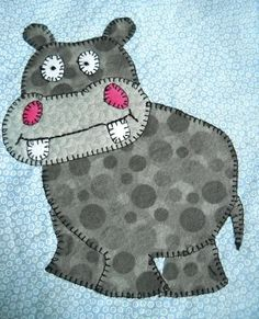 (7) Name: 'Quilting : Baby Hippo Applique Block