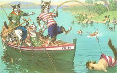 Mainzer Hartung Postcard 4887 Dressed Cats Fishing, Catch Swimmer's Bathing Suit