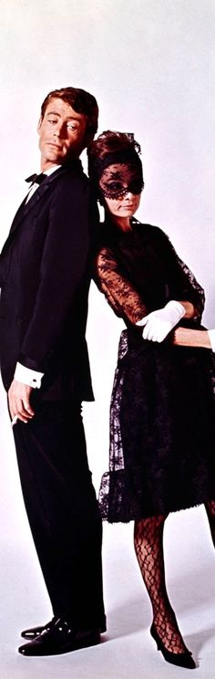 """Audrey Hepburn and Peter O'Toole in a promotional shot for """"How to Steal a Million"""" in 1965."""