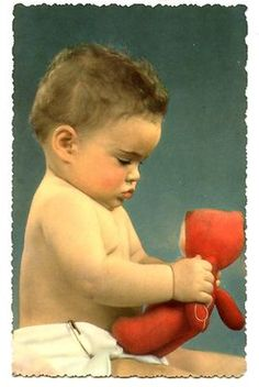 Cute Baby Looks at Toy Doll-Cloth Diaper-Vintage Postcard-Made in Italy