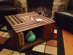 Wine Crate Table with Casters by TheBluePicketFence on Etsy