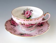 Lefton China Handpainted Tea Cup and Saucer, Teacup Set, Pink with Pink Roses, Gold Gilt Trim, Footed, Shabby Tea Party, Vintage 1950s on Etsy, $45.00