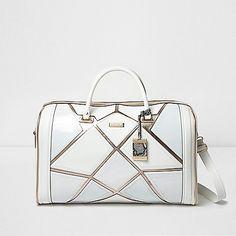 White metallic strip weekend bag - luggage - bags / purses - women