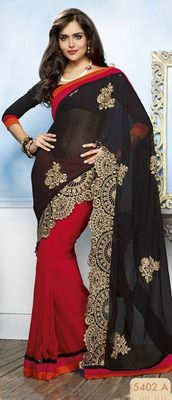 Amazing shaded designer red & black saree