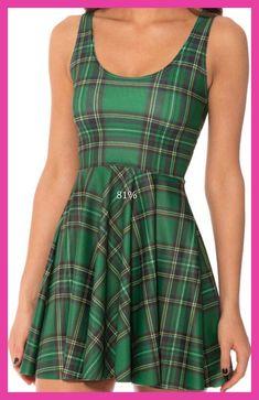 NEW 1096 Sexy Girl Women Summer plaid tarta green 3D digital Prints Reversible Sleeveless vest Skater Pleated Dress