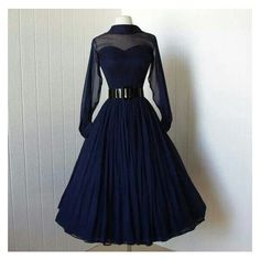vintage 1950's dress beautiful navy silk chiffon full skirt bombshell... ❤ liked on Polyvore featuring dresses, navy blue dress, sheer cocktail dress, transparent dress, sheer sleeve cocktail dress and vintage dresses