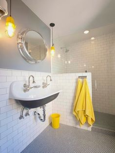 love the mirror black penny tile floor with subway tile walls (boys bathroom upstairs and shared sink) Eclectic Bathroom, Bathroom Styling, Modern Bathroom, Shared Bathroom, Industrial Bathroom, Yellow Bathrooms, White Bathroom, Bathroom Accents, Bathroom Beach