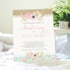 Shabby Chic christening invitation