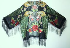 Vintage Black and multi color Peacock Silk by THEHIPPIEGYPSYVTG, $89.00