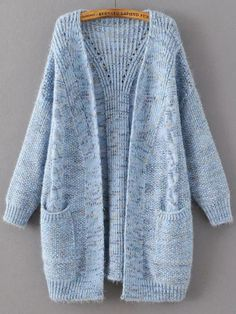 Shop Blue Marled Knit Long Sweater Coat With Pocket online. SheIn offers Blue Marled Knit Long Sweater Coat With Pocket & more to fit your fashionable needs. Long Sweater Coat, Long Knit Cardigan, Knit Jacket, Long Sweaters, Knitting Sweaters, Cashmere Cardigan, Fashion Mode, Look Fashion, Coat Patterns
