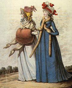 Morning dress Stamp hat (left)  fur tippet (right) December 1795