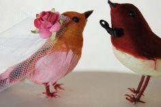 Vintage Inspired Love Birds Wedding Cake Topper in Peony Pink & Rosebud Red. $35.00, via Etsy.