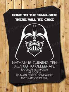 Darth Vader Birthday Invitations Star Wars by HeyTherePrints, $13.00