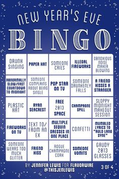 laughingsquid:  New Year's Eve Bingo Game Cards
