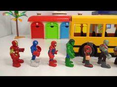 School bus and marvel heros
