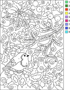 adult colour by numbers pages google search - Color Number Winter Worksheets