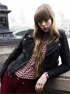 Motorcycle jacket with button down shirt and colored denim