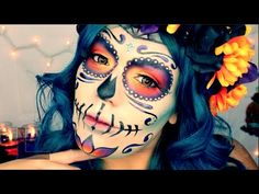 "Mexican Sugar Skull Makeup Tutorial *EASY* ""Day Of The Dead"" 