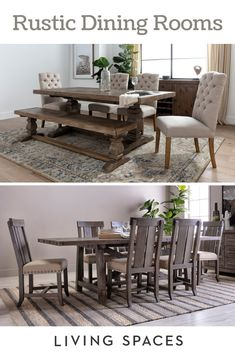 Dining isn't just about the delicious food, it's about creating an environment that sparks the senses. Set the perfect dining room scene with these inspired spaces. furniture home furniture brown furniture dining sets furniture dressers Dining Room Images, Dining Room Table Decor, Dining Room Sets, Dining Room Design, Home Decor Furniture, Home Decor Bedroom, Home Living Room, Rustic Furniture, Living Room Decor