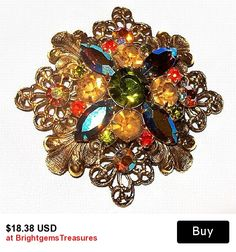 "CIJ Sale Florentine Brooch Pin Orange Green Rhinestones Gold Filigree Lacy Metal Floral Design 2.5"" Vintage"