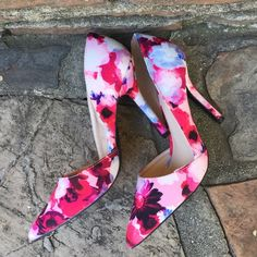 Floral Pumps D' orsay style. Worn once. Great condition. True to size Qupid Shoes Heels