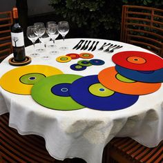 Use these record placemats at your kids table at any house party and that will be the IT place to be.