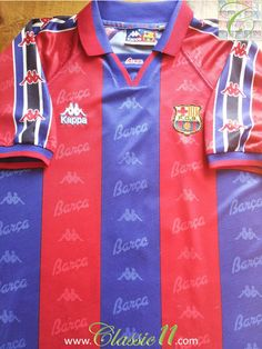 3a1ace6d2 1995 96 Barcelona Home Original Vintage Football Shirt   Soccer Jersey