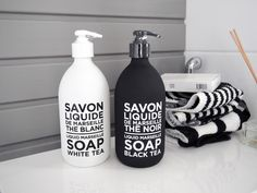 Loving these black & white glass bottles of Compagnie de Provence
