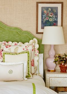 pink, green, grasscloth Green Bedding, Make Your Bed, Wingback Chair, Bed Pillows, Accent Chairs, Bedroom Decor, Cottage, Amanda, Bedrooms