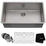 Kraus Standart PRO 32-inch 16 Gauge Undermount Single Bowl Stainless Steel Kitchen Sink, KHU100-32