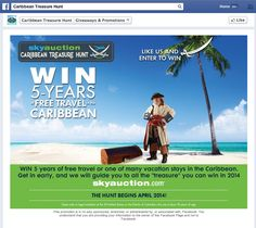 SkyAuction's 2014 5-years of Free Travel in the Caribbean sweepstakes Like Gate on Facebook