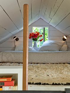 This space reminds me of my Grandma's cottage attic bedroom.