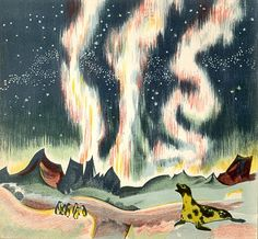 """Northern lights at the North Pole, from """"Scaf the Seal,"""" by Lida, ill. by Rojan (Feodor Rojankovsky), 1936."""