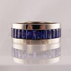 baguette cut sapphire band #jewellery #jewellerydesign #jewelleryonline #jewelleryset #jewelleryshops #bespoke #asschercut #diamond #diamondrings #style #sapphire #emerald #emeraldring #sapphirering #wedding #weddingrings