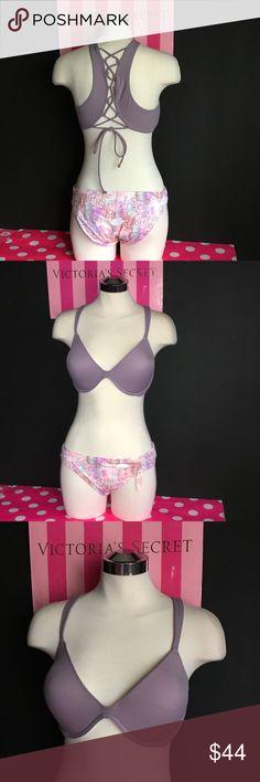 New! Victoria's Secret Swimsuit Top 34DD push-up padding Bottom Large  New with tag. 3 PINK Victoria's Secret Swim Bikinis