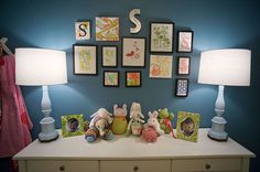 colorful girls room wall display