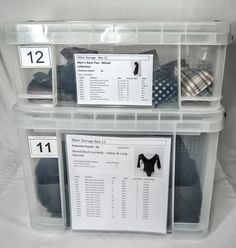 organized costume inventory boxes